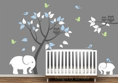 Tree and Elephants Wall Decal for Nursery