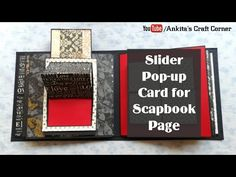 Today sharing a tutorial video of Slider Pop-up Card for scapbook page. Ideas Scrapbook, Mini Scrapbook Albums, Mini Albums, Scrapbook Pages, Fun Fold Cards, Pop Up Cards, Exploding Gift Box, Cool Paper Crafts, Foam Crafts