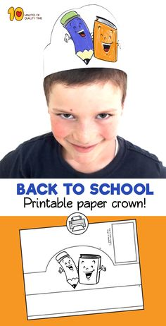 Paper crowns – Printable paper – Back to school worksheets – School worksheets – School printab - corona health tips First Day School, Beginning Of The School Year, Going Back To School, Crown Printable, Printable Paper, Back To School Worksheets, Crown For Kids, Paper Crowns, Easy Arts And Crafts