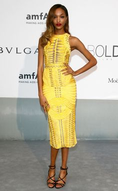 Jordan Dunn  in a yellow Balmain dress from amfAR Gala 2014: Red Carpet