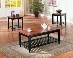 3 Pc. Set Solid Wood Coffee Table with 2 End Tables with Shelf in Walnut & Black Finish