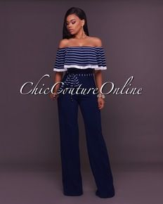 Cayenne Navy-Blue White Stripes Ruffle Top Strapless Jumpsuit