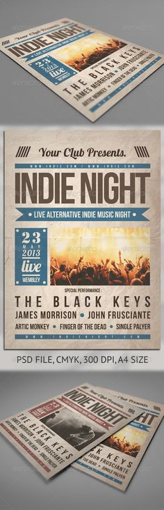Indie Night Flyer   #GraphicRiver        Indie Night Flyer Poster Templates This flyer template is the perfect way to promote your gig, club event, festival or any other special even. Features  PSD File  Print Ready  300 dpi  CMYK  A4  Easy to Customize  All text editable with text tool  Download link font :   Available in Package download  Regards, Robb Cahyadi  Dont Forget To Rate,     Created: 29August13 GraphicsFilesIncluded: PhotoshopPSD Layered: Yes MinimumAdobeCSVersion: CS3…