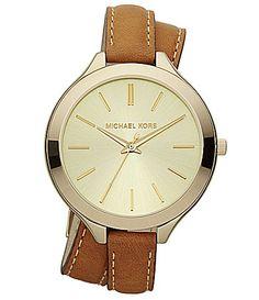 Michael Kors Ritz Ladies Double Wrap Leather Watch | Dillards.com