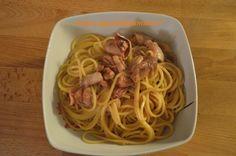 Spaghetti alla chitarra con crema di patate ai calamari