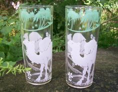 40.00 Hazel Atlas Camel/Palm Tree Glass Tumbler Pair 1930's-50's Barware
