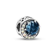 From Pandora, bring the magic of the northern lights into your look with this deep blue moon button charm in sterling silver. Representing the sight of a lifetime, the celestial charm features cubic zirconia set in a moon shape with a shimmering rainbow e Pandora Beads, Pandora Jewelry, Charm Jewelry, Pandora Charms, Jewelry Art, Jewelry Design, Pandora Pandora, Pandora Leather Bracelet, Pandora Bracelets