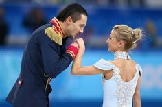 Russia's Maxim Trankov kisses Tatiana Volosozhar's hand after competing in the team pairs short program figure skating competition at the Iceberg Skating Palace during the 2014 Winter Olympics, Thursday, Feb. in Sochi, Russia. Winter Olympics 2014, Nbc Olympics, Winter Olympic Games, Tokyo Olympics, Us Figure Skating, Figure Skating Olympics, Ice Skating, Tatiana Volosozhar, Figure Skating