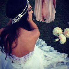 Beautiful bride 'Yiota' wearing the Bo & Luca  'Hera' headpiece