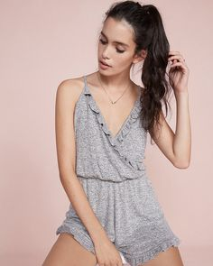 a9d3aa3b22aa express one eleven wrap front ruffle romper