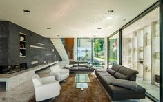luxury modern living room with marble floor and panorama windows Marble Floor, Luxury Villa, Modern Living, Windows, Flooring, Photo And Video, Living Room, Studio, Table