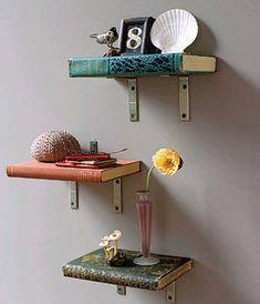 Vintage books as bookshelf. cute for an office