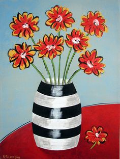 Fleurs and Stripes acrylic on canvas Find me Folk Art Flowers, Abstract Flowers, Flower Art, Flowers Nature, Easy Canvas Painting, Diy Canvas Art, Color Terciario, Canvas Art Projects, Classroom Art Projects