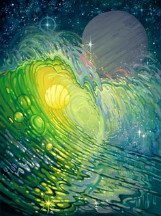 """Liquid Galaxy"" #SurfArt by Bill Ogden. We love Ogden's style and use of color, both of which entice the viewer's curiosity of what his intentions were when he created this beautiful piece. This is available as a 12"" x 16"" Giclee on Canvas."
