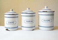 French Blue & White Enamelware Canisters - Cafe, Farine Sucre