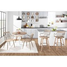 Ebern Designs Atmore Pedestal Dining Table | Wayfair Pedestal Dining Table, Dining Room Bar, Dining Area, Dining Chairs, Counter Stools With Backs, Swivel Counter Stools, Farmhouse Chairs, Modern Farmhouse, Farmhouse Style