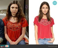 Riley's red embroidered top on Girl Meets World. Outfit Details: https://wornontv.net/58116/ #GirlMeetsWorld Buy it here: http://wornon.tv/36459