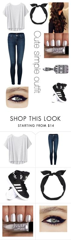 """""""Cute simple outfit"""" by nicole16angel ❤ liked on Polyvore featuring Athleta, J Brand, adidas, yunotme and Wet Seal"""