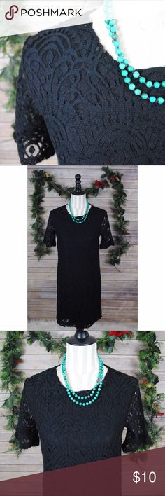 H&M Holiday Black Lace Dress NWT black dress perfect for your holiday party! Says it's a 14 but please keep in mind that this is h&m so it runs small.  Materials: 75% cotton 25% poly  Measurements: Armpit to armpit: 17 in Waist: 18 in Shoulder to hem: 33.5 in H&M Dresses Midi