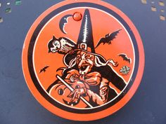 Vintage Halloween Noisemaker ~ Tin Ratchet Noisemaker with Wood Handle * Witch and Owl