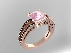 Hey, I found this really awesome Etsy listing at https://www.etsy.com/listing/185835746/black-diamond-morganite-engagement-ring