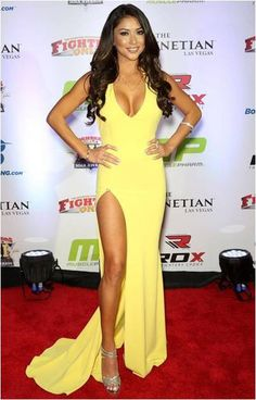 The beautiful Arianny Celeste wearing this gorgeous halter gown at the MMA…