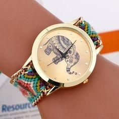 Hand Braided Elephant Wristwatch