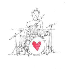 The Secret Life of Love Day #197. #keepthebeat #drums #sketch #illustration #sketchaday
