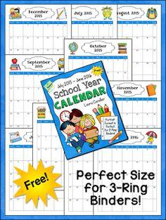 School Year Calendar 2015 - 2016 Freebie