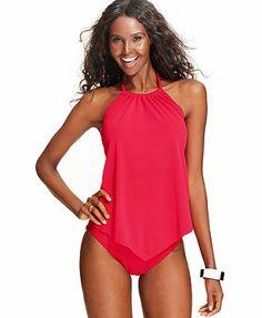 3e0930e881 Magicsuit Angled-Hem Halter Tankini Top   Ruched Swim Brief Bottom Women -  Swimwear - Macy s