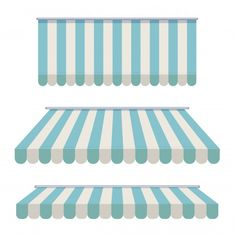 A set of striped awnings Premium Vector | Premium Vector #Freepik #vector #background #blue-background #restaurant #building Glass Signage, Information Technology Logo, Awning Canopy, Cup Art, Boutique Interior, Candy Party, Candyland, Kids Education, Graphic Illustration