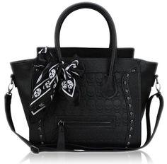 Miss Lulu Frauen Fauxleder Handtaschen Schädel, enthalten Schädelschal L1101S (Schwarz L1101S BK)
