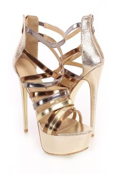 Add glamour to any outfit with these sexy platform heels! They will look super hot paired with your favorite skinnies or dress. Make sure you add these to your closet, it definitely is a must have! Featuring metallic crinkle faux leather upper, strappy shaft, open toe, back zipper closure, stitched detailing, and finished with a cushioned footbed. Approximately 6 inch heel and 1 1/2 inch platform.