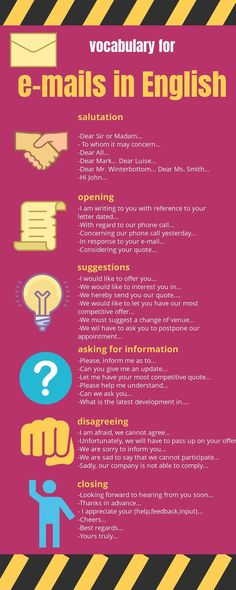 e-mails in English - writing e-mails is not always easy. Here are some suggestions for using standards in order to impro - Improve English Writing, English Writing Skills, Learn English Grammar, English Vocabulary Words, Learn English Words, English Phrases, English Language Learning, Teaching English, English Teachers