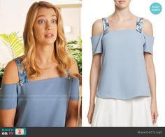 Petra's blue cold-shoulder top with beaded straps on Jane the Virgin. Outfit Details: https://wornontv.net/67794/ #JanetheVirgin