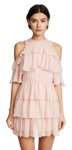 nichola ruffle party dress by Alice + Olivia. Looking oh-so-dreamy with allover ruffles, this darling alice + olivia mini dress is sure to add magic to your next night out. It's the perfect piece to wear with a new pair of pumps. Fabric: Silk chiffon Shoulder cutouts Mini dress cut ... #aliceolivia #dresses