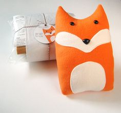 DIY Kit Fox Woodland Pillow Plush - Fleece Fabric Animal Plushie - Do It Yourself Craft for Children and Adults - Make Your Own Oliver Toy