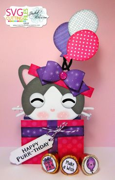 Happy Purr-thday! Treat/Card Box using Present Kitty Slide Card