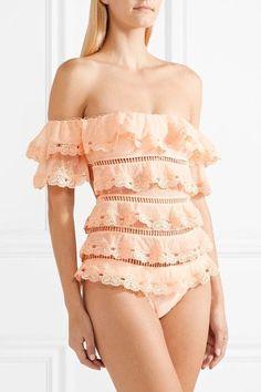 Zimmermann - Painted Heart Love Tiered Lattice-trimmed Swiss-dot Lace Swimsuit - Peach