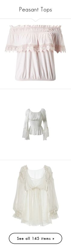 """""""Peasant Tops"""" by shannen-legere-lavigne ❤ liked on Polyvore featuring peasant, tops, shirts, nude, white crochet shirt, peach top, white frilly shirt, shirt tops, flounce top and blouses"""