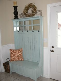 """Face Lift Before & After Hall tree and entry way! Valspar paint """"Sparkling Lake"""""""