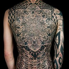 Manala full back tattoo - A wide mandala tattoo design encompassing the entire back of the person. One of the best places to ink the mandala…