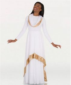 Convertible asymmetrical caftan pullover has one side with gold trim and the other with a side slit for a variety of wearing options.Made of Matte Polyester. Praise Dance Wear, Praise Dance Dresses, Worship Dance, Garment Of Praise, Dance Tops, Dance Fashion, Dance Outfits, Cold Shoulder Dress, Convertible