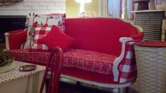 Red sofa from Cherry Hill Cottage!