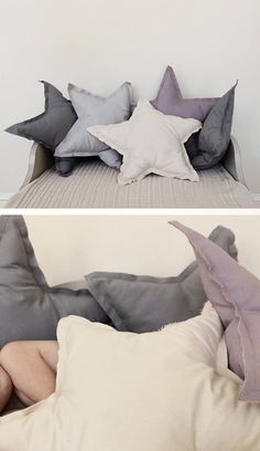 DIY star pillows - are these cute or am I reaching? I was thinking for that ticking fabric we have. Sewing Pillows, Diy Pillows, Cushions, Throw Pillows, Sewing Crafts, Sewing Projects, Diy Projects, Diy Crafts, Diy Star