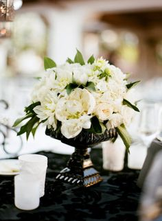 simple, white & green flowers