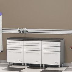 Ulti-MATE Storage 3-Drawer Base Cabinet Kit with Work Top Surface in Starfire White / Pearl