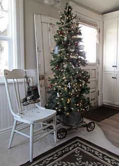 Vintage Christmas...tree in an old bucket...on wheels.