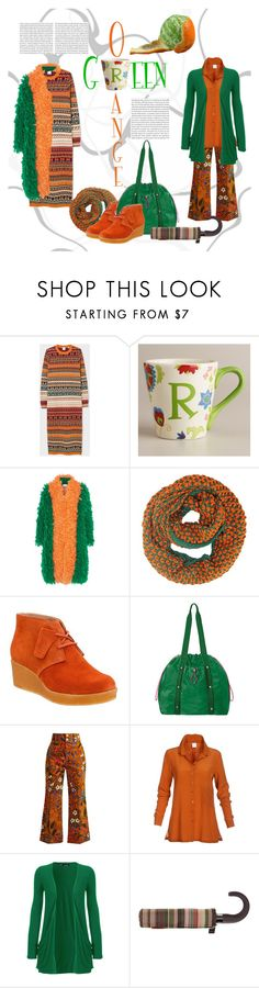 """""""gReen oRange"""" by etsyynb ❤ liked on Polyvore featuring Cost Plus World Market, Gucci, Clarks, Baggallini, WearAll and Missoni"""