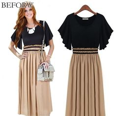 Find More Dresses Information about BEFORW Women Dress Summer  Knitted Chiffon Short Sleeve Large Size Women Was Thin Waist Sexy Fashion Casual Solid Color Dresses,High Quality dress short,China dress up real models Suppliers, Cheap dress connection from BEFORW Online store on Aliexpress.com